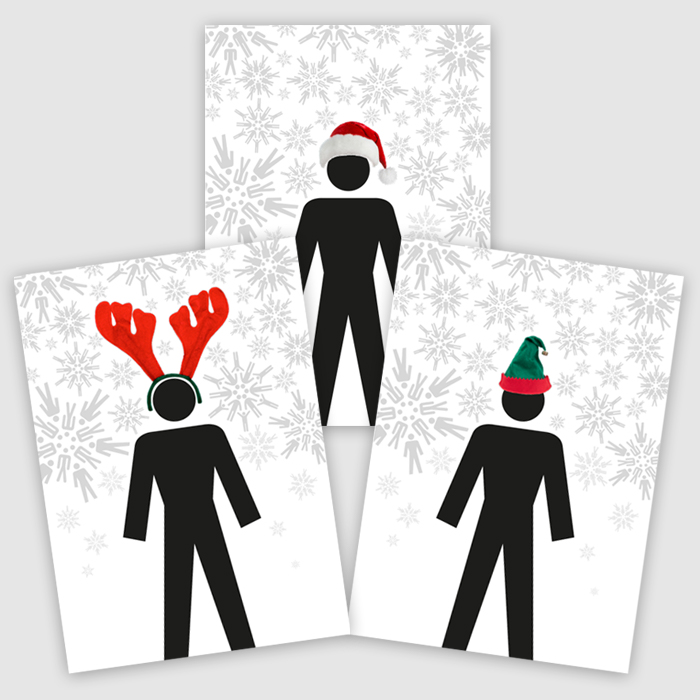 'Santa's Cheeky Helpers' Christmas cards (Pack of 12)
