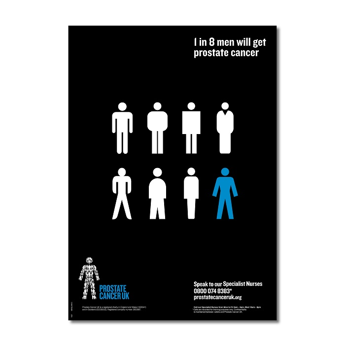 1 in 8 men poster A3